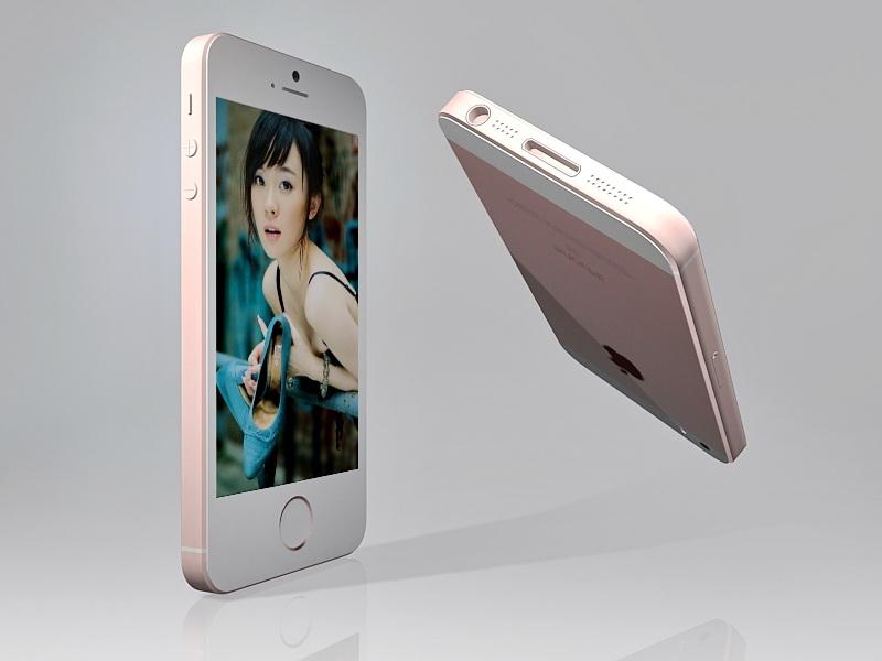 iPhone SE Rose Gold 3d rendering