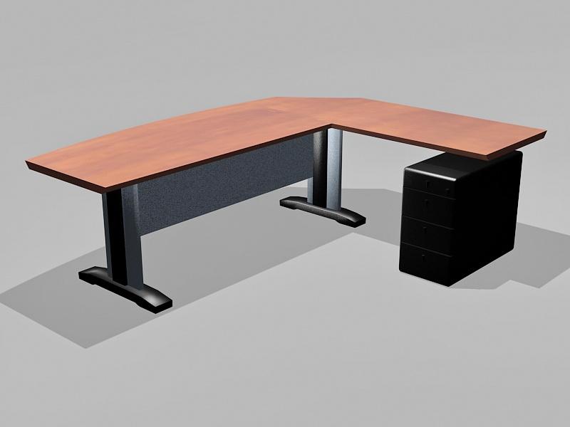 Corner Workstation Desk 3d rendering