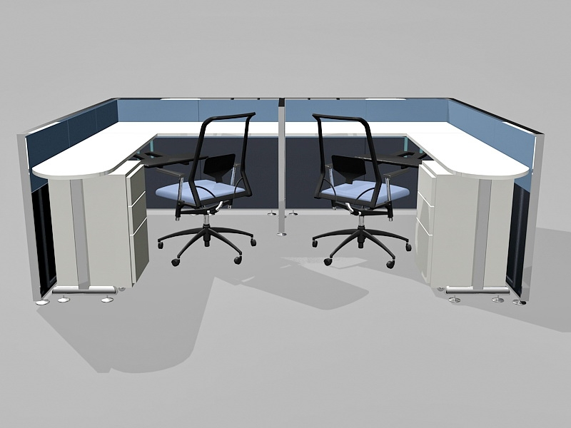 2 Person Office Cubicles Workstations 3d rendering