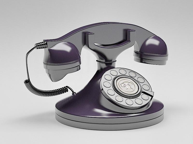 Vintage Rotary Phone 3d rendering