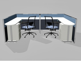 2 Person Office Cubicles Workstations 3d model preview