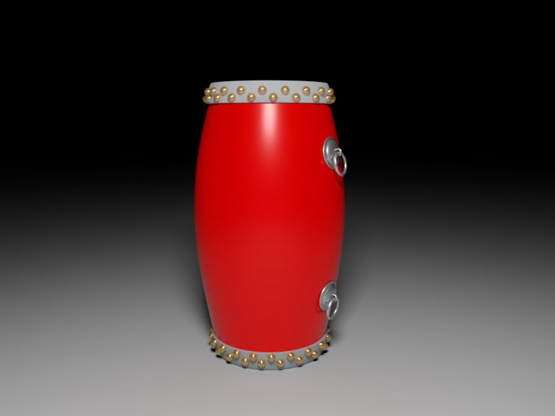 Antique Chinese Provincial Drum 3d rendering