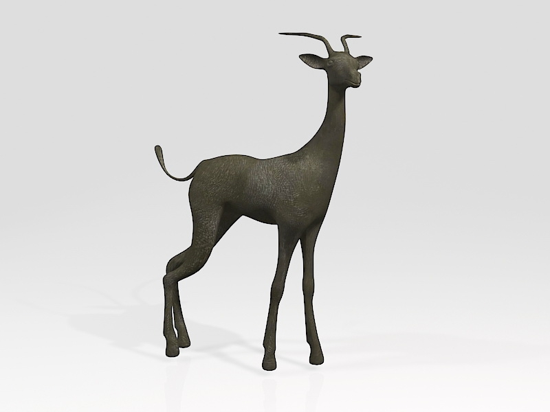 Black Gazelle Animal 3d rendering