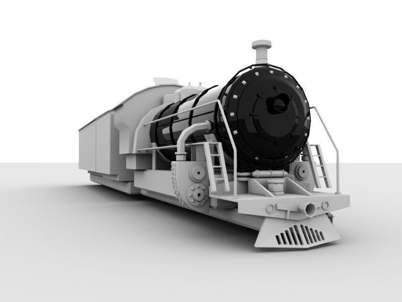 Old Steam Train 3d rendering