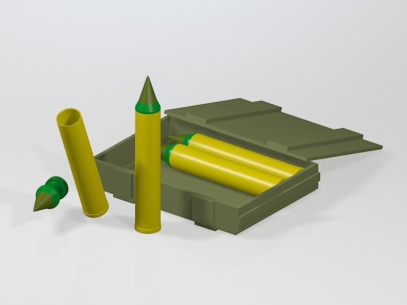 Howitzer Artillery Shells 3d rendering