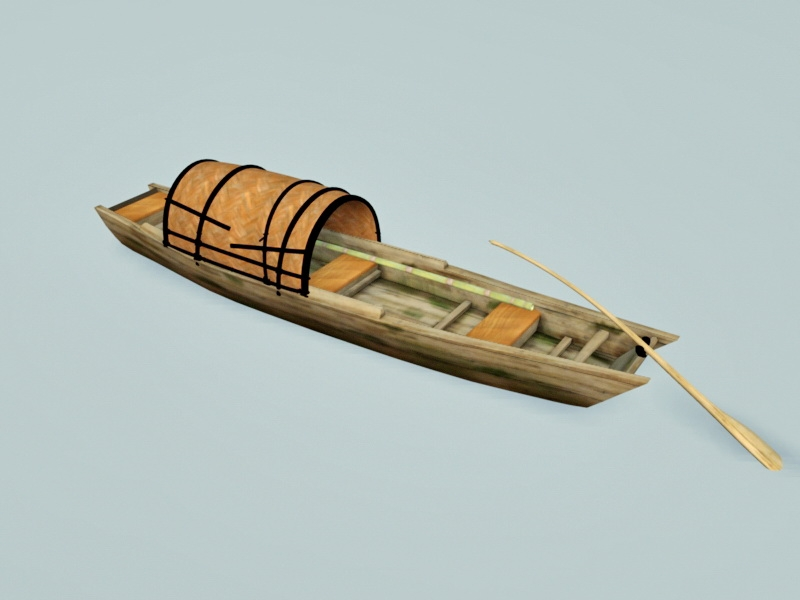 Ancient Chinese Fishing Boat 3d rendering