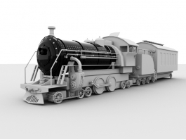 Old Steam Train 3d preview