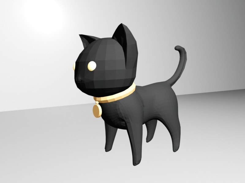 Black Cat Cartoon 3d rendering