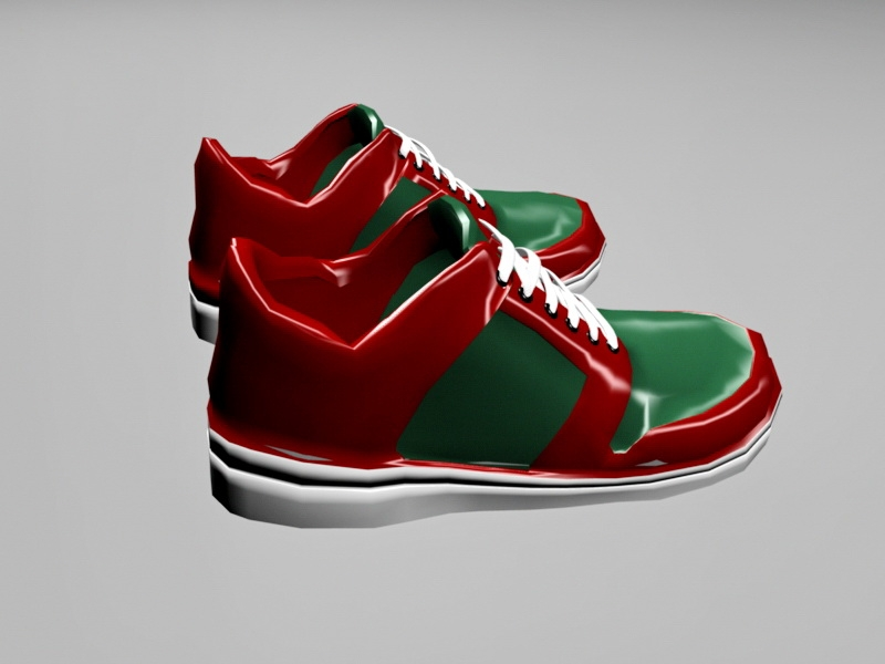 Red and Green Sneakers 3d rendering