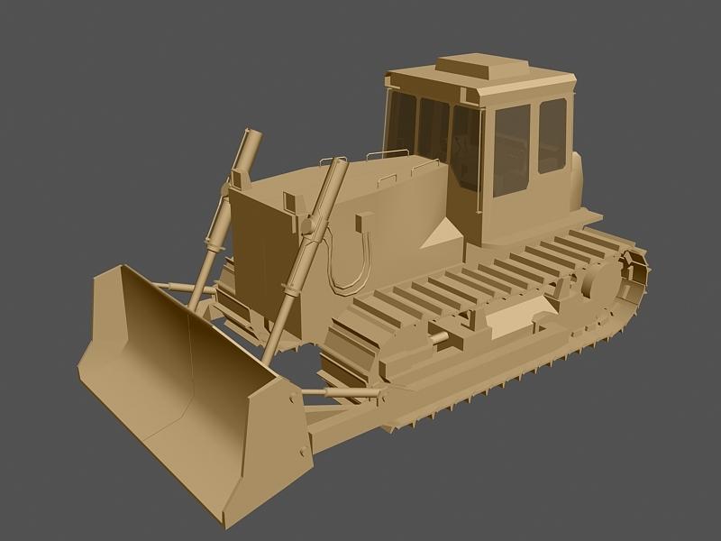 Tracked Bulldozer 3d rendering