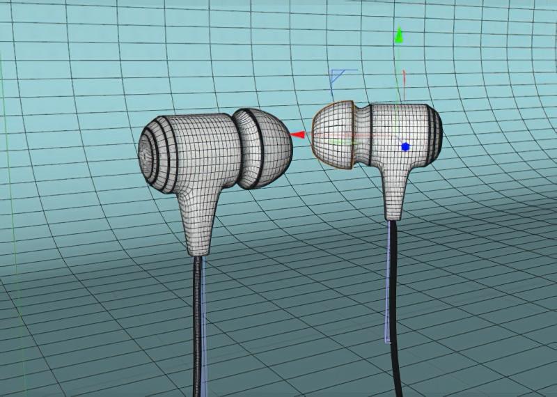 Wired Earphones 3d rendering