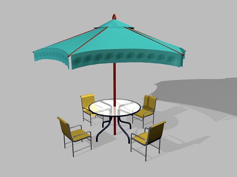 5 Piece Patio Furniture Set with Umbrella 3d rendering
