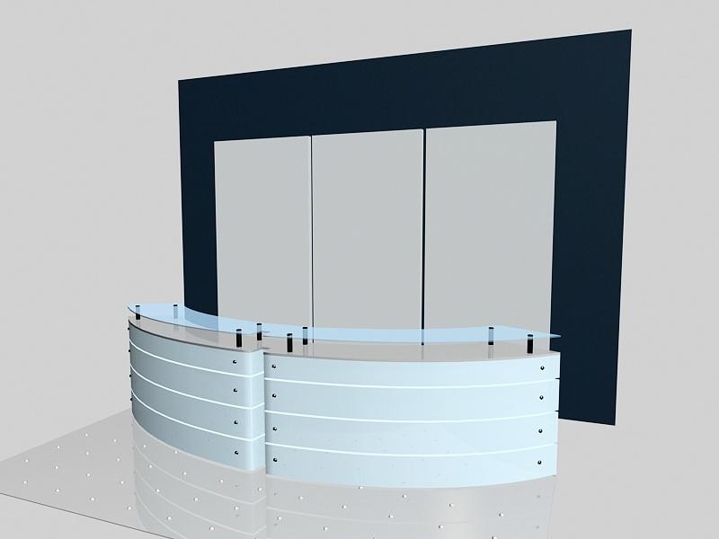 Modern Office Reception Desk Design 3d rendering