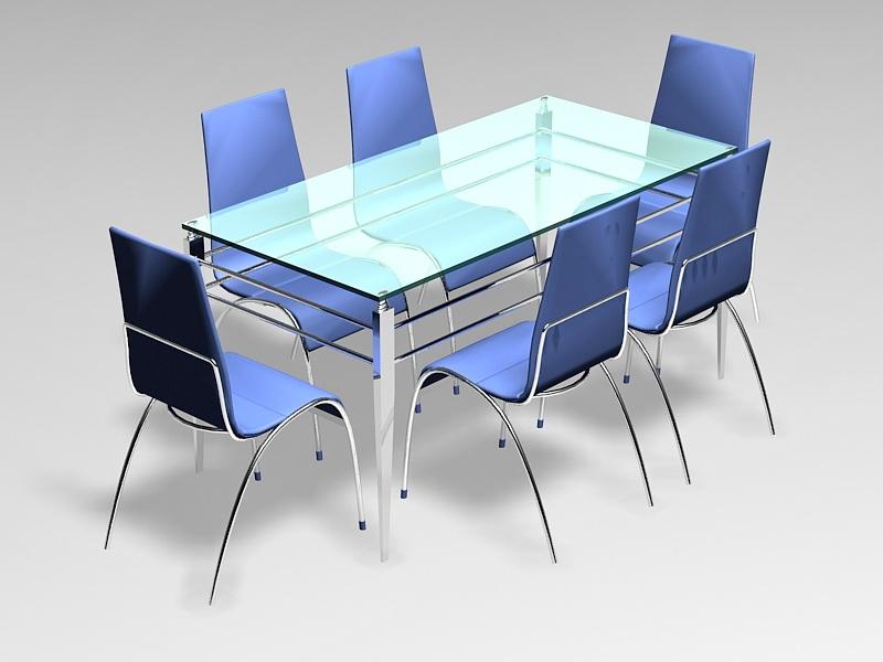 7 Pcs Glass Dining Room Sets 3d rendering
