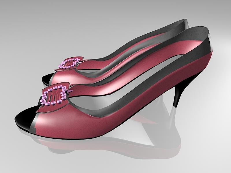 Open Toe High Heel Shoes 3d rendering