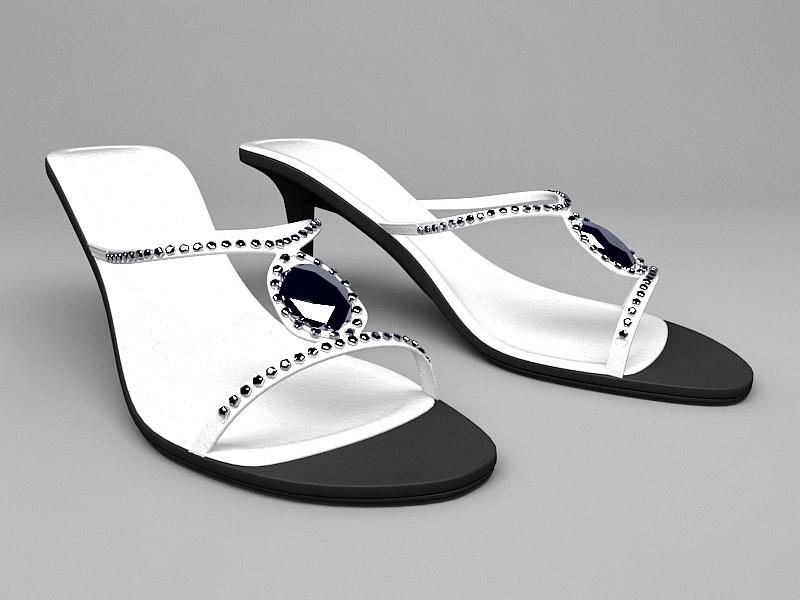 High Heel White Sandals 3d rendering