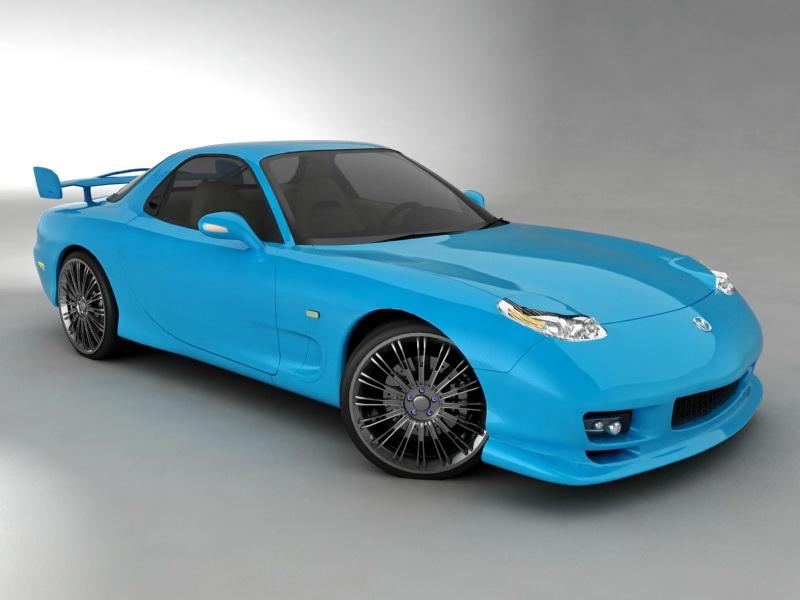 Mazda RX-7 Blue Sports Car 3d rendering