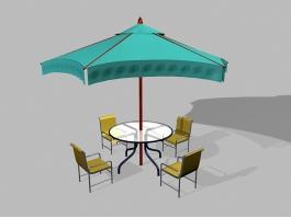 5 Piece Patio Furniture Set with Umbrella 3d preview