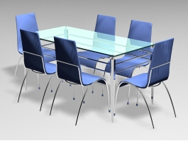 7 Pcs Glass Dining Room Sets 3d preview