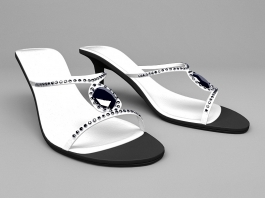 High Heel White Sandals 3d preview