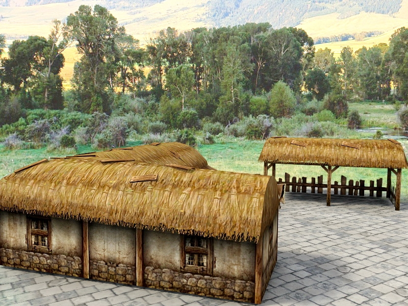 Vintage Thatch Roof Cottage 3d rendering