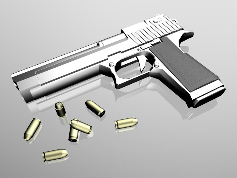 Pistol and Bullets 3d rendering