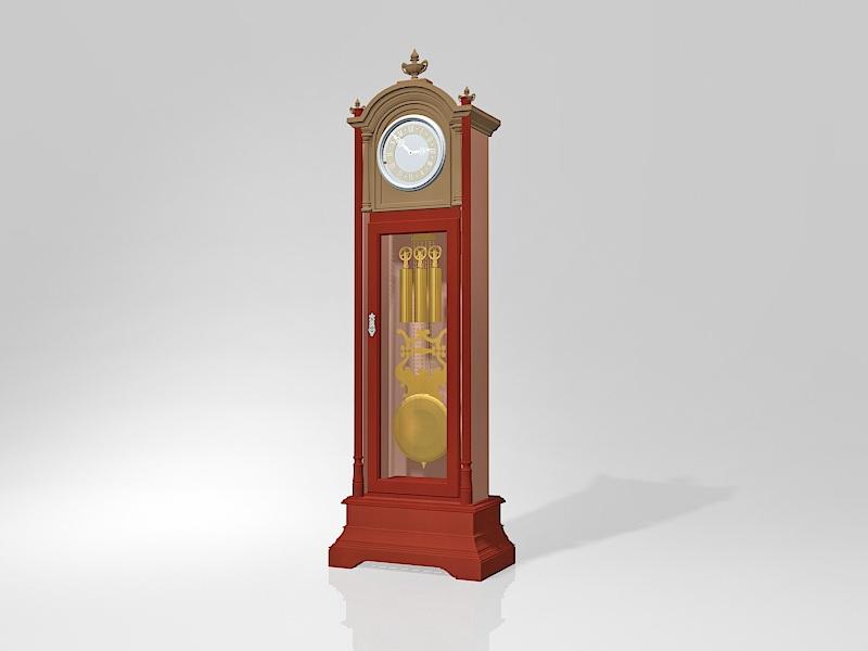 Vintage Grandfather Clock 3d rendering