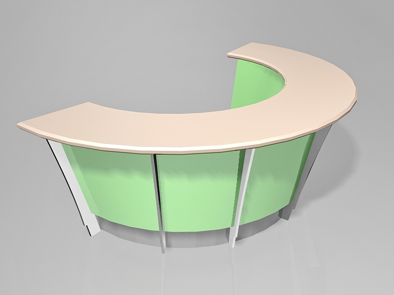 Green Curved Reception Desk 3d rendering