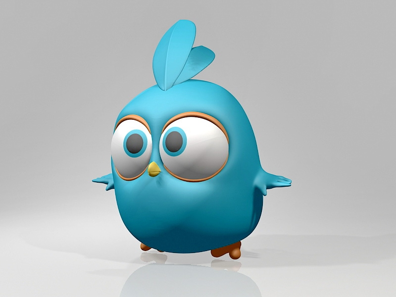 Angry Bird Blue 3d rendering