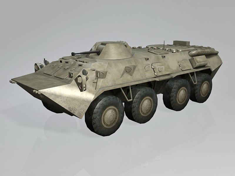 Russian BTR-80 APC 3d rendering