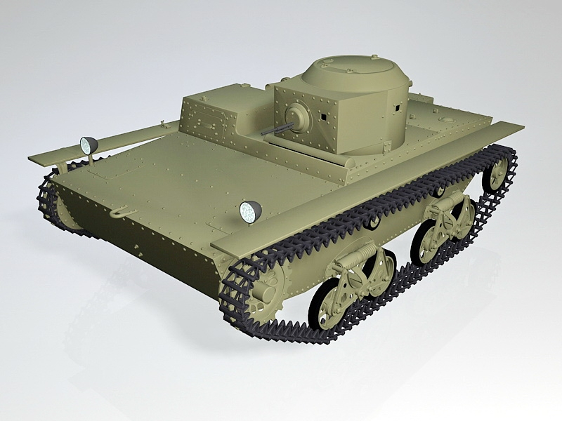 Soviet T-38 Amphibious Light Tank 3d rendering