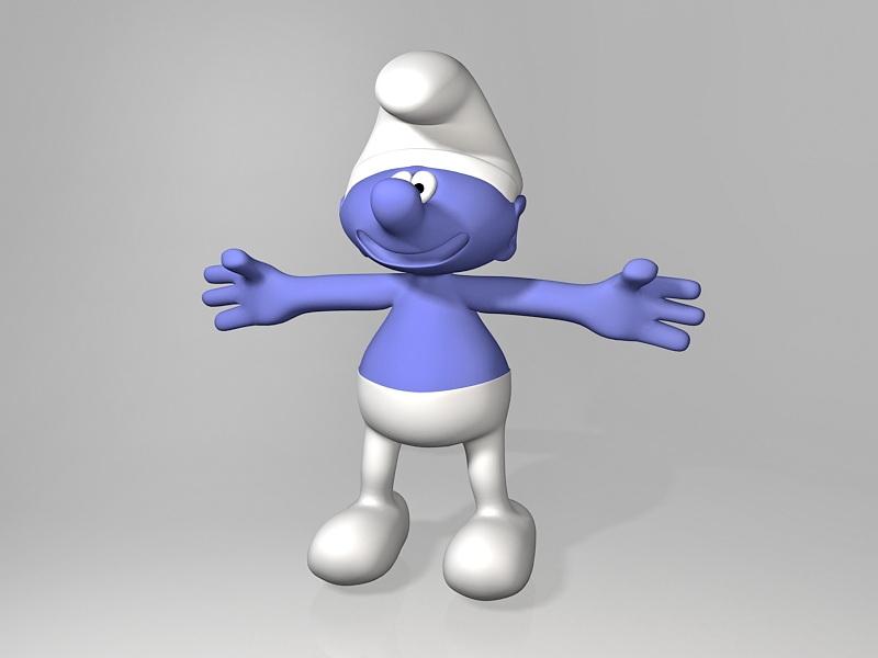 Smurf Cartoon Character 3d rendering