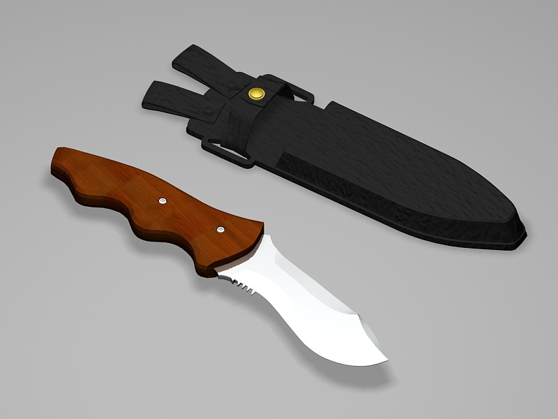 Hunting Knife with Sheath 3d rendering