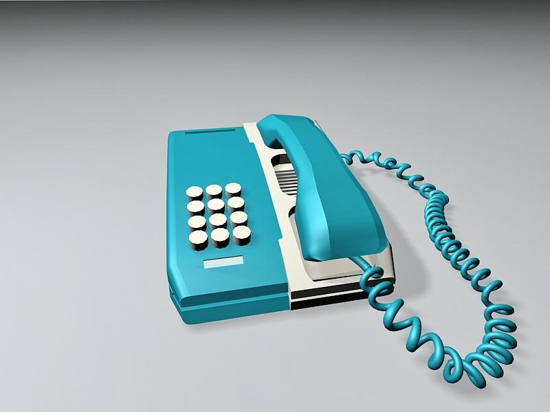 Blue Desk Telephone 3d rendering