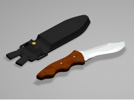 Hunting Knife with Sheath 3d preview