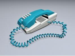 Blue Desk Telephone 3d preview