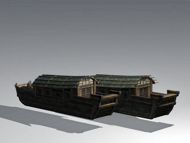 Traditional Chinese Wooden Boat 3d rendering