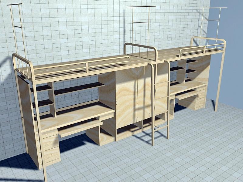 College Bunk Beds 3d rendering