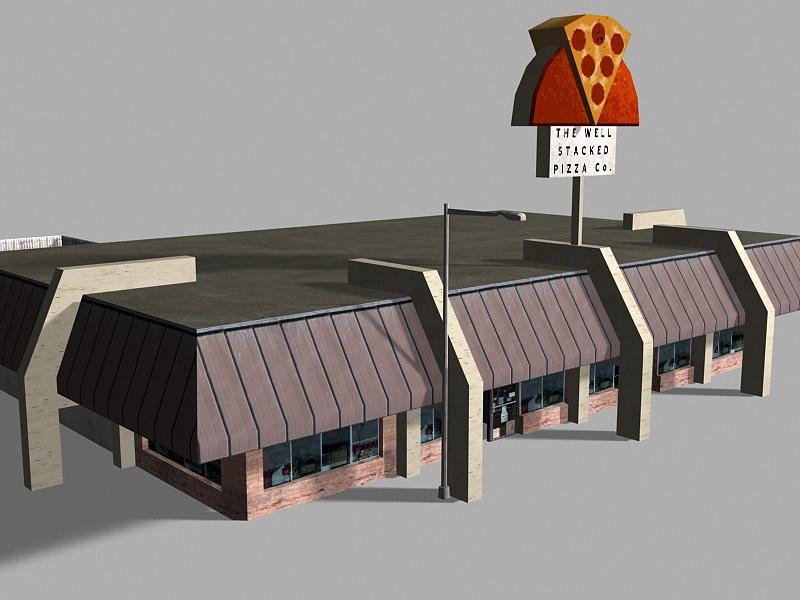 Retro Pizza Restaurant Exterior 3d rendering