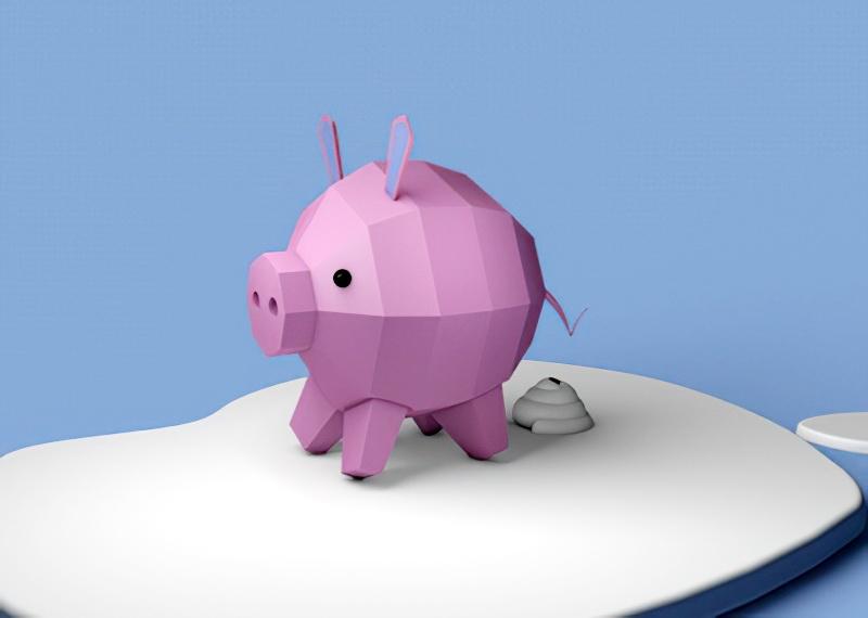 Low Poly Piglet Cartoon 3d rendering