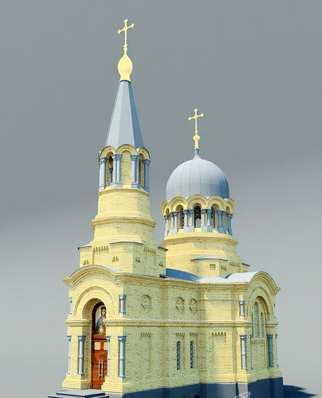 Russian Church Architecture 3d rendering