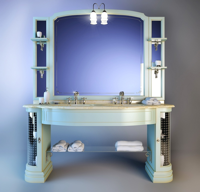 Traditional Bathroom Vanity Unit 3d rendering