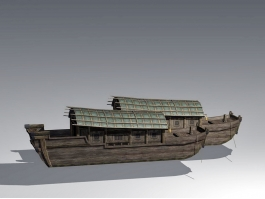 Traditional Chinese Wooden Boat 3d preview
