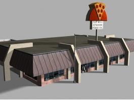 Retro Pizza Restaurant Exterior 3d preview