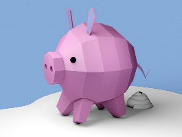 Low Poly Piglet Cartoon 3d preview