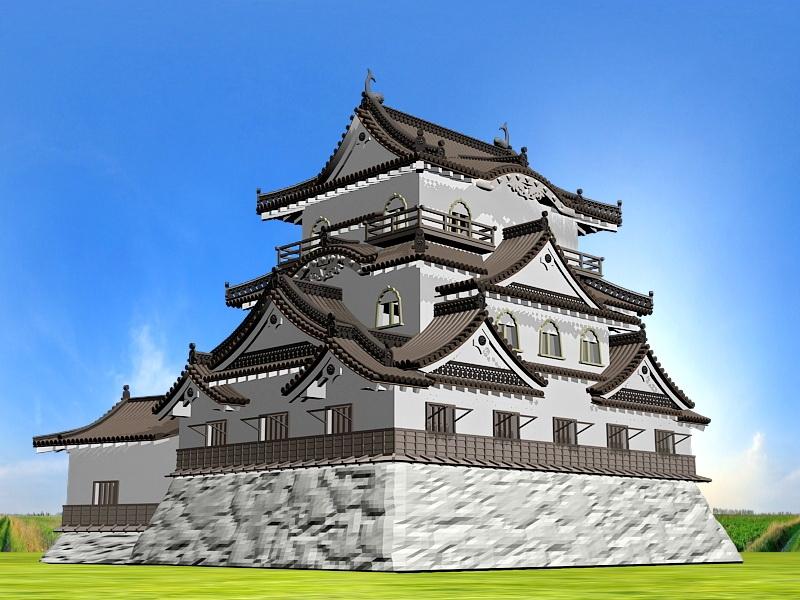 Medieval Japanese Castle 3d rendering