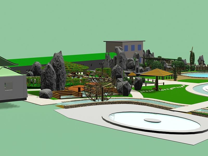 Small Park Design 3d rendering