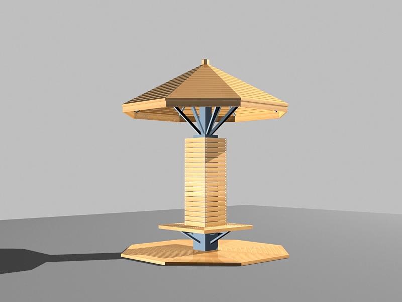 Wood Gazebo Design 3d rendering
