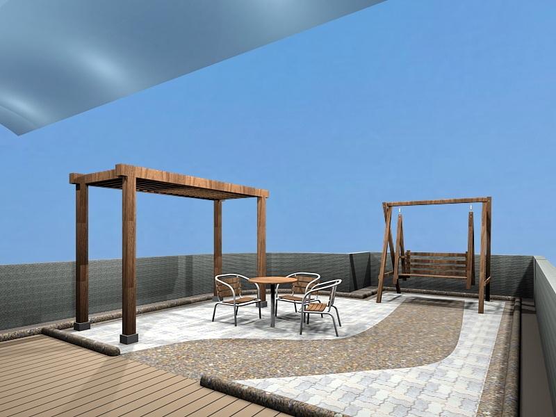 Small Patio Design Ideas 3d rendering