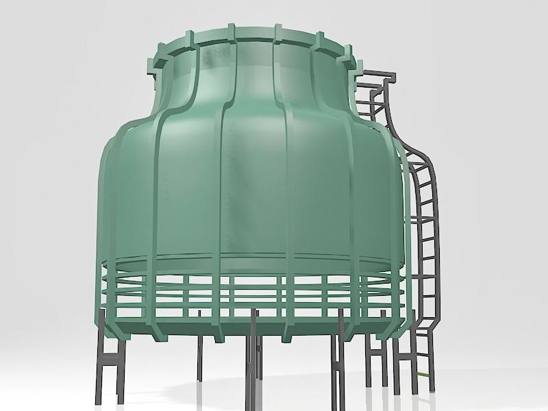 Industrial Cooling Tower 3d rendering